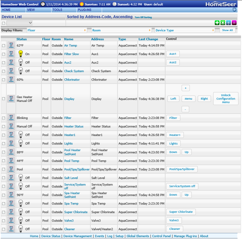 Aquaconnect Plugin Overview Homeseer Message Board